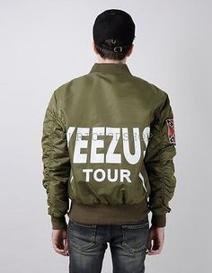 New Yeezus Tour MA-1 Alpha Flight Bomber Jacket Black Military Green Kanye Yeezy
