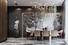 from Saint-Petersburg, Russia is one of the best design and architecture studios in the world. Modern Interior Design, Luxury Interior, Interior Architecture, Minotti Furniture, Luxury Furniture, Luxury Dining Room, Dining Room Design, New Wall, Interiores Design