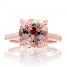 Classic solitaire engagement ring with a Genuine Morganite in a square cushion cut, peachy pink color, set on solid gold or platinum. (As shown is the 9x9mm)