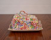 Vintage Antique James Kent Apple Blossom Chintz Porcelain Cheese Platter Butter Dish.....love this for cheese too