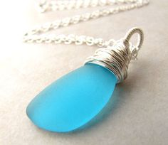 Sea Glass Seaglass Necklace Aqua Turquoise by BellinaCreations