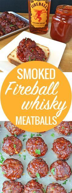 Smoked Fireball Whisky Meatballs These are memorable meatballs. Smoked Fireball Whisky Meatballs are made with beef, pork and bacon and smothered in Fireball Whisky BBQ Sauce. - Liven up your meatballs with Fireball Whisky BBQ Sauce Traeger Recipes, Grilling Recipes, Sirloin Recipes, Smoked Meat Recipes, Healthy Grilling, Smoked Pork, Fireball Recipes, Whiskey Recipes, Pastas Recipes