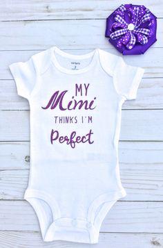 MiMi/Baby Girl Onesie/ Mimi Baby Clothes/Baby Shower Gift/White and Purple/Grandmother/Nana/Gigi/Yaya/Baby Girl Clothes by sunnyvilledesigns on Etsy https://www.etsy.com/listing/555760230/mimibaby-girl-onesie-mimi-baby