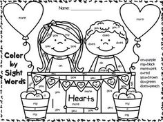 valentine's day color by numbers worksheet
