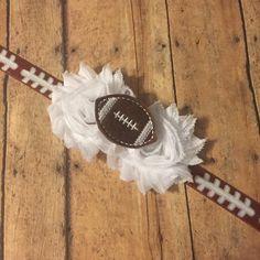 Football headband, sports team, shabby flower headband, feltie football, team colors, customize, fan favorite by BBgiftsandmore on Etsy