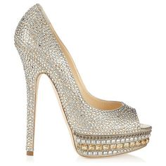 JIMMY CHOO Kendall champagne leather and crystal platform pumps found on Nudevotion
