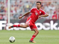 New Bayern Munich player Thiago Alcantara of Spain attends a training session after a public team presentation in the Allianz Arena stadium in Munich, southern Germany, on Tuesday, July 23, 2013. (Matthias Schrader/AP)