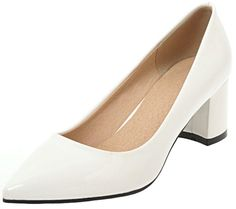 e6b8baa3ad50 Mofri Womens Chic Pointed Toe Pump Burnished Solid Color Low Cut Slip on Block  Heels Work