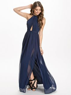 Halterneck Metal Dress - Nly Eve - Navy - Party Dresses - Clothing - Women - Nelly.com