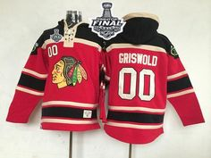 Blackhawks #00 Clark Griswold Red Sawyer Hooded Sweatshirt 2015 Stanley Cup Stitched NHL Jersey