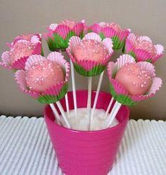 Flower cookie pops - Oh so sweet Flower Cake Pops, Cake Pop Bouquet, Flower Cookies, Candy Bouquet, Cake Flowers, Snowman Cake, Christmas Cake Pops, Baby Shower Cake Pops, New Cake