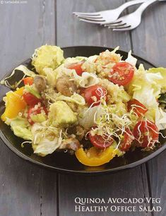 62 Healthy Salads with healthy dressing, Tarla Dalal Salad Recipes, Diet Recipes, Healthy Recipes, Snack Recipes, Indian Salads, Easy Healthy Breakfast, Vegetarian Breakfast, Vegetarian Food, High Fiber Foods
