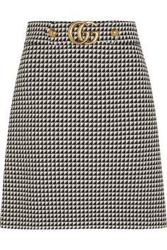 Gucci - Houndstooth Wool-blend Mini Skirt - Black - IT48