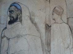 CHASSERIAU Théodore,1846 - Arabe barbu et autres Figures - drawing - Détail 03