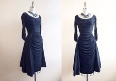 1950s Dress - Vintage Ceil Chapman 50s Dress - Black Silk Jersey Draped Couture Cocktail Party Dress XS S - Elegantly