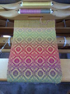 Linda's Maltese Cross scarf on the loom.