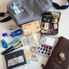 """Inside my travel pouch ✌️"" Watercolor Pans, Travel Crafts, Drawing Journal, Artist Aesthetic, Art Friend, Artist Life, Process Art, Urban Sketching, Photography Branding"
