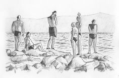 29. júla 2014. chorvátsko, pláž v podgore. ceruzka a grafitová tuha.