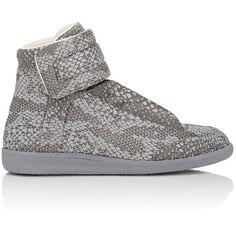 "Maison Margiela Python-Print ""Future"" Ankle-Strap Sneakers ($1,075) ❤ liked on Polyvore featuring shoes, sneakers and grey"