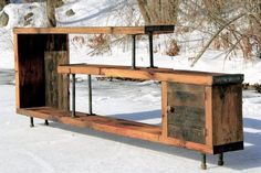 Reclaimed wood entertainment center by UniqueIndustry on Etsy Pipe Furniture, Rustic Furniture, Pallet Projects, Home Projects, Wood Entertainment Center, Pallet Tv Stands, Interior Design Living Room, Consoles, Sweet Home
