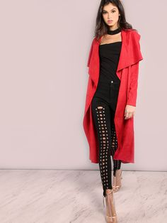 """The perfect Fall fit, don't miss out on this outerwear! Featuring a duster coat with soft faux suede material, beltable waist, a crepe lapel design and an eye catching red hue. Coat measures 47.5"""" in. from top to bottom hem. Wear over a white satin cami, shorts and thigh highs. #sexy #MakeMeChic #MMCstyle #ootd #MMC #style #fashion #newarrivals #summer16"""