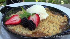 Cabernet Grill's Honey Lavender Peach Crisp~While the Texas Hill Country is well known for its peaches, it is becoming increasingly known for its lavender farms as well. Both peaches and lavender* come into season at the same time and this recipe makes use of both of them in a delicious fashion.