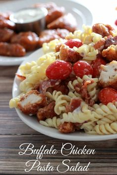 This Buffalo Chicken Pasta Salad is perfect to serve up for the big game!
