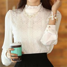 New 2016 Autumn Women blouses Korean Style clothing Fashion Elegant White Shirts Crochet Lace Long Sleeve Chiffon Blouses-in Blouses & Shirts from Women's Clothing & Accessories on Aliexpress.com | Alibaba Group