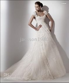 A Line Short Sleeve Lace Lique V Back Court Train Wedding Dresse