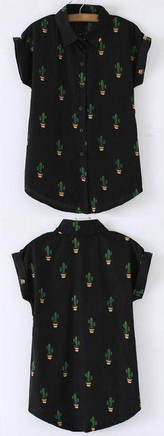 Black Buttons Front Cactus Print Chiffon Blouse - satin silk blouses shirts, black silk blouse womens, white collared sleeveless blouse *sponsored https://www.pinterest.com/blouses_blouse/ https://www.pinterest.com/explore/blouse/ https://www.pinterest.com/blouses_blouse/silk-blouse/ http://us.shein.com/Shirts-c-1733.html
