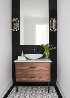 toronto jonathan adler rooms with modern wall- powder room contemporary and mosa.-- toronto jonathan adler rooms with modern wall- powder room contemporary and mosaic floor contrast Powder Room Decor, Powder Room Design, Powder Room Paint, Powder Room Lighting, Bad Inspiration, Bathroom Inspiration, Downstairs Bathroom, Small Bathroom, 1950s Bathroom