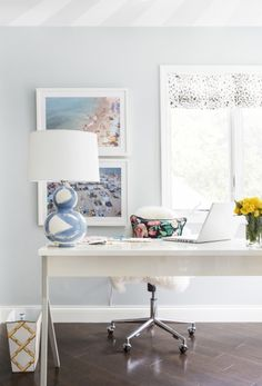 Sky blue and gray office space: http://www.stylemepretty.com/living/2016/09/26/secrets-to-making-big-things-happen-in-your-career/ Photography: Erin Melvin