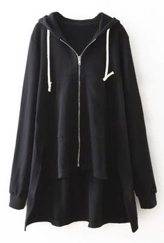 Black fashion to have with Only One week Now! This high low hooded sweatshirt coat is detailed with white drawstring&front zipper. Best item for hanging out at Cupshe.com .