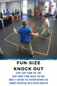 Fun Size Knock Out – P. and Gym Basketball Game Love Knock Out but don't have the space. If you don't have a small goal, just use a bucket or trash can. In a normal sized gym, you could have several games going on at once. Physical Education Activities, Elementary Physical Education, Pe Activities, Education Posters, Education Quotes, Health Education, Special Education, Kindergarten Games, Preschool Games