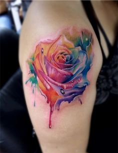 Rainbow coloured rose - This is one of my favorite best flower tattoos over the internet. Some love red roses, some love white, or blue, but a multi-colored tattoo beats them all! (One of Ellies tattoos) Body Art Tattoos, New Tattoos, Sleeve Tattoos, Cool Tattoos, Sternum Tattoos, Tatoos, Watercolor Tattoo Sleeve, Watercolor Rose Tattoos, 3d Rose Tattoo