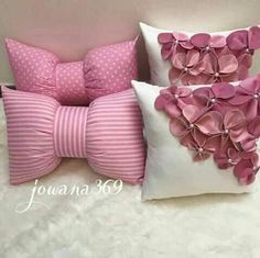 Diy Home Crafts, Diy Crafts For Kids, Sewing Crafts, Sewing Projects, Kids Diy, Bow Pillows, Cute Pillows, Kids Pillows, Burlap Pillows