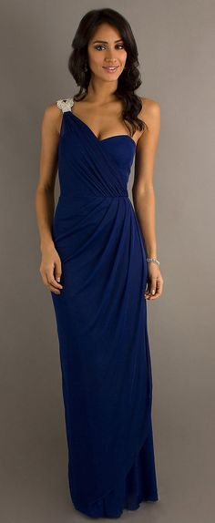 Long One Shoulder Semi Formal Chiffon Dress Royal Blue Rhinestone (7 Colors Available)