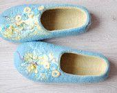 Handmade Felted & beaded slippers by zavesfelt on Etsy