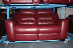 HALCYON DEEP RED LEATHER 2 SEATER MANUAL SOFA   eBay