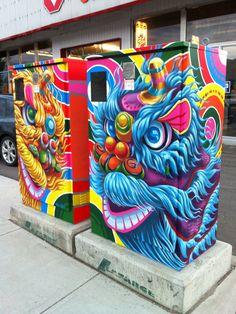 Utility Box Public Art Program Urban Street Art, Urban Art, Painted Boxes, Hand Painted, Graffiti, Art Programs, Blue Abstract, Art Activities, Public Art