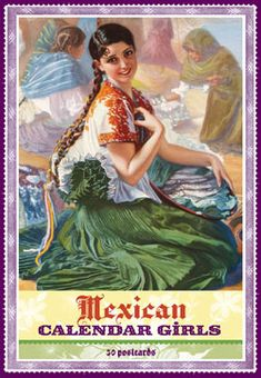 Mexican Calendar Girl Post Cards