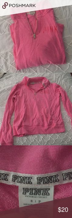VS Pink Pink Quarter Zip with pockets Pocket in front, lots of wear left (sorry about the wrinkles I just pulled it out of my storage bin) PINK Victoria's Secret Jackets & Coats