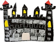 Castle art project for CC cycle 2 and SOTW Fairytale Castle, Fairytale Art, Chateau Moyen Age, 2nd Grade Art, Second Grade, Grade 2, Deep Space Sparkle, Sparkle Box, Castle Project