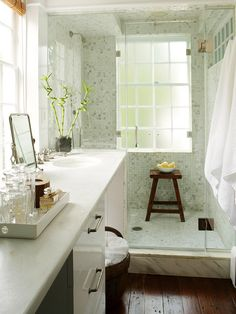 Bathroom - The soothing and refreshing combination of whites and grays, greens and blues, takes me to a spa each time I step into My Dream Bathroom.