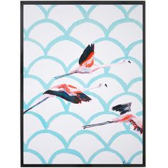 Flying Flamingos Framed Print. Right in between a Florida beach house and a Tropicool pad, this bright and playful print will lighten up your room! Featuring flying flamingos on a blue shell-pattern background, it would look great next to the 3 other prints from the same series available here.
