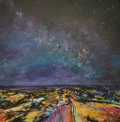 original oil painting, landscape, abstract, night sky, stars, clouds, milky way, space, coloful, unique, canvas, home, interior, decor, art Ocean Canvas, Canvas Art, Original Artwork, Original Paintings, Oil Painters, Oil Painting Abstract, Photo Canvas, Landscape Paintings, Landscapes