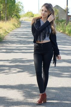 Wearing fringe & stripes for fall