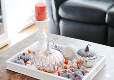 It's Fall, and I'm sharing 12 Fall Coffee Table Tray Decor Ideas that I hope will inspire you in your fall decorating. Coffe Table Tray, Coffee Table Design, Small Wooden Tray, Small Tray, Decorating Coffee Tables, Pumpkin Decorating, Buy Wood, Tray Decor, Thanksgiving Table