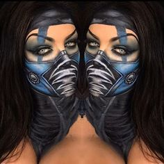 Sub Zero Mortal Kombat Halloween make up look Cute Halloween Makeup, Halloween Looks, Creepy Halloween, Facepaint Halloween, Special Makeup, Special Effects Makeup, Halloween Disfraces, Makeup Art, Sfx Makeup