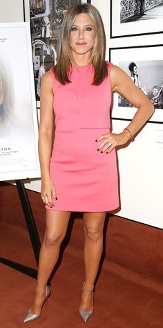 Aniston ditched her trademark LBDs and wowed at the Cake screening in a pink Calvin Klein Collection dress, complete with a solo bangle and pewter Louboutin pumps.